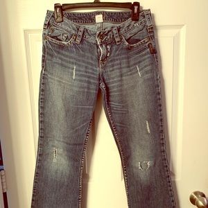 Silver distressed jeans- short length